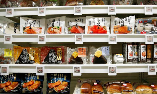 Food products displayed at the Lawson Open Innovation center in Japan.